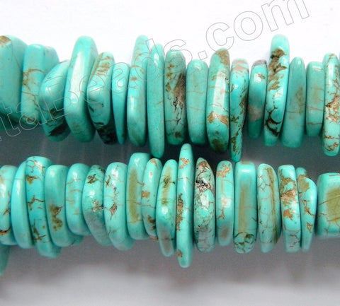 Cracked Blue Turquoise  -  Graduated Center Drilled Slices  16""