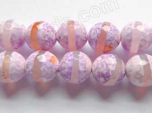 DZi Agate Light Purple w/ Grey Line  -  Faceted Round  15""