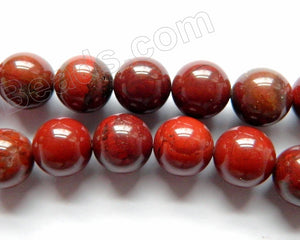 Red Silver Leaf Jasper AA  -  Smooth Round Beads  15.5""