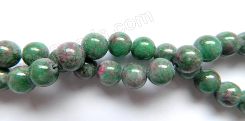 Ruby Zoisite Jade -  Smooth Round Beads  15""