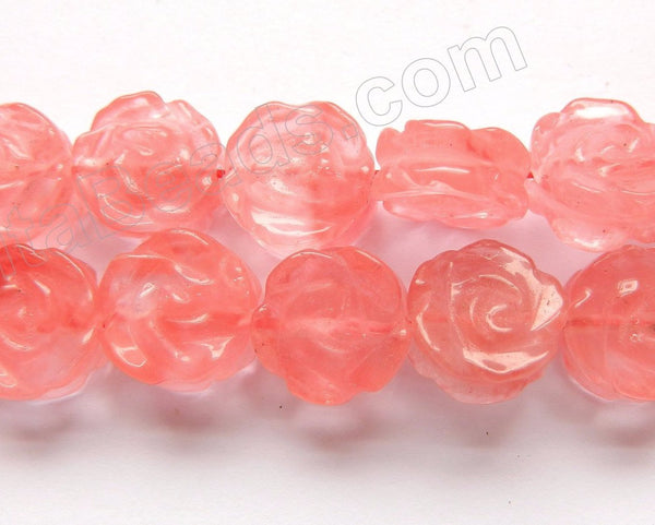 "Cherry Quartz  -  Carved Rose Coins Strand  15""    14 x 14 x 7 mm"
