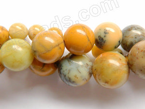 Yellow Moss Opal AA  -  Smooth Round Beads  15""