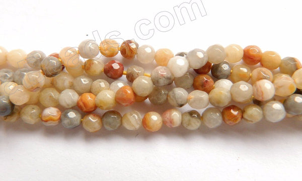 "Crazy Lace Agate A  -  Small Faceted Round Beads 16""    3mm"
