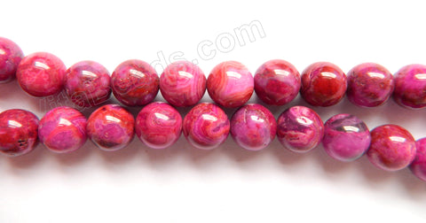 Dark Fuchsia Brazilian Agate  -  Smooth Round Beads  16""