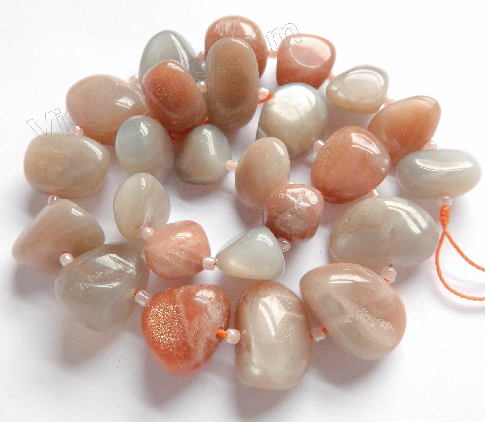 Mixed Grey Pink Moonstone  -  12x15-18x25mm Graduated Smooth Tumble  16""