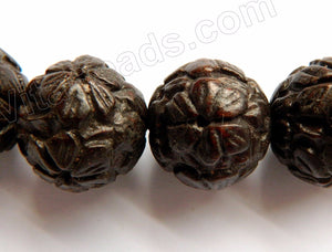 Ebony Carved Big Smooth Round Beads  -  Dark Brown