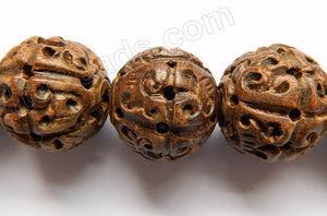 Ebony Carved Round Beads  -  Light Brown