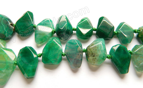 Green Fire Agate  -  Graduated Center Drilled Faceted Flat 16""