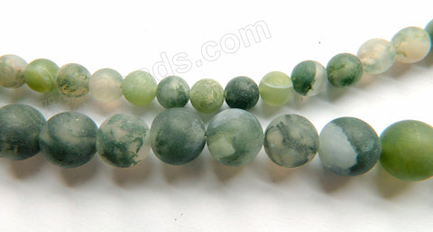 Frosted Light Moss Agate  -  Smooth Round Beads 16""