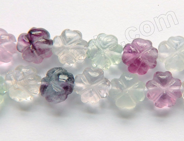 Rainbow Fluorite  -  Carved 4 Petal Flower Strand  16""