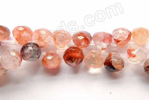 Mixed Strawberry Quartz Natural - 7mm Faceted Teardrop 16""
