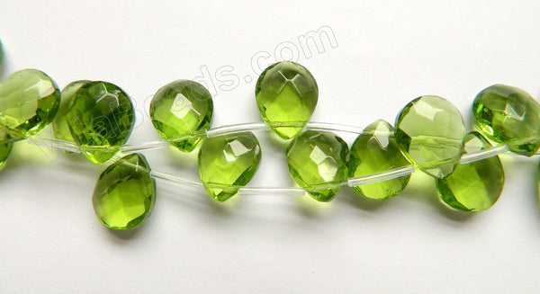 Peridot Crystal  -  Faceted Flat Briolette 16""