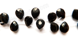 Black Crystal  -  12x15mm Faceted Flat Briolette 16""