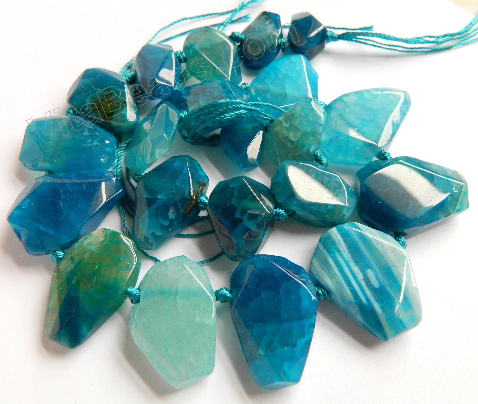 Blue Fire Agate  -  Graduated Center Drilled Faceted Flat 16""