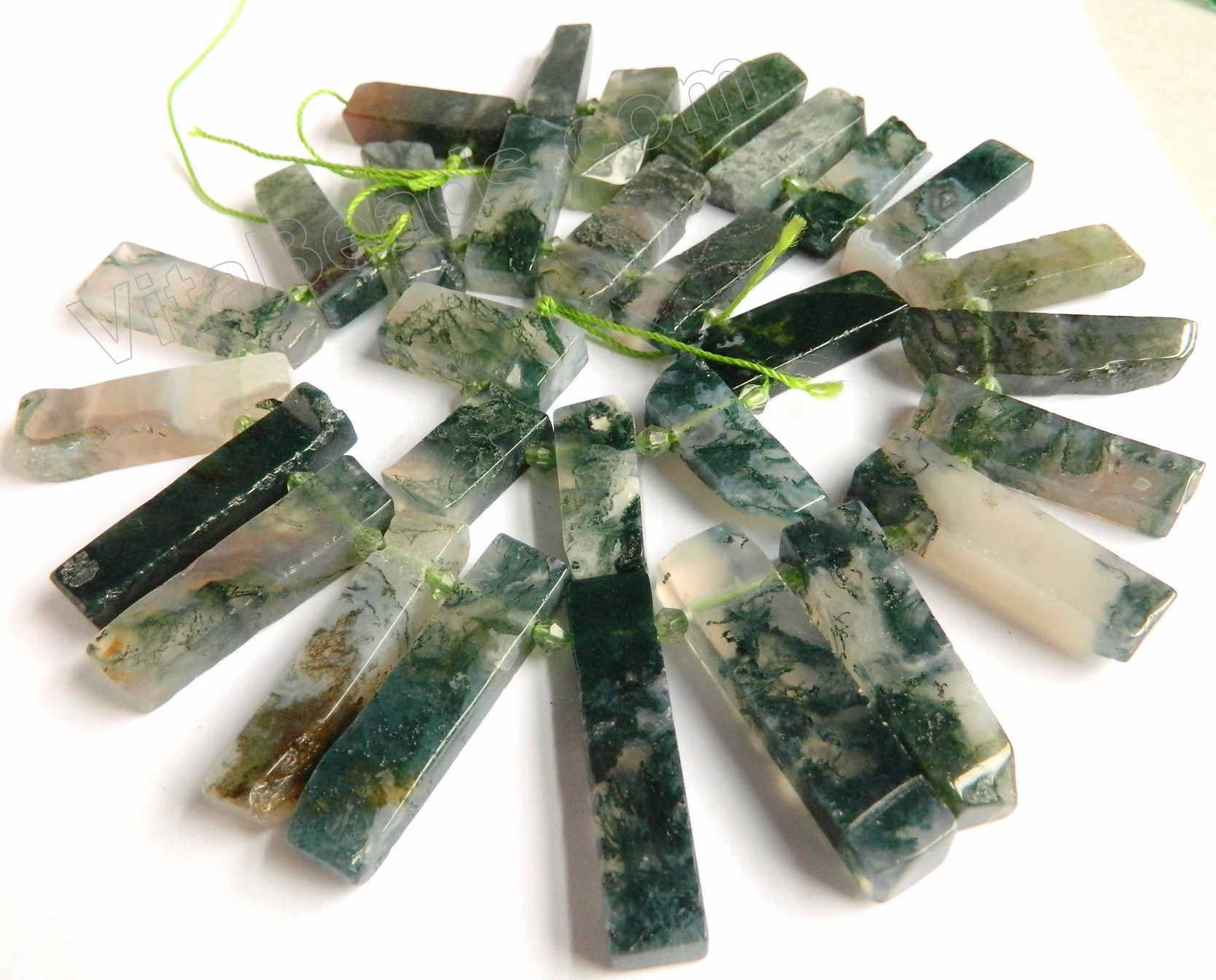 "Moss Agate A  -  Graduated Top-drilled Long Rectangle Slabs  15""    10 x 20 - 40 mm"