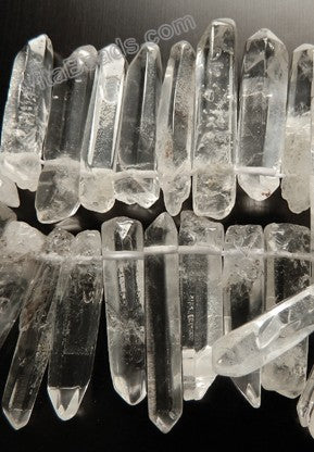 Rock Crystal Natural  -  Graduated Faceted Long Tooth  16""