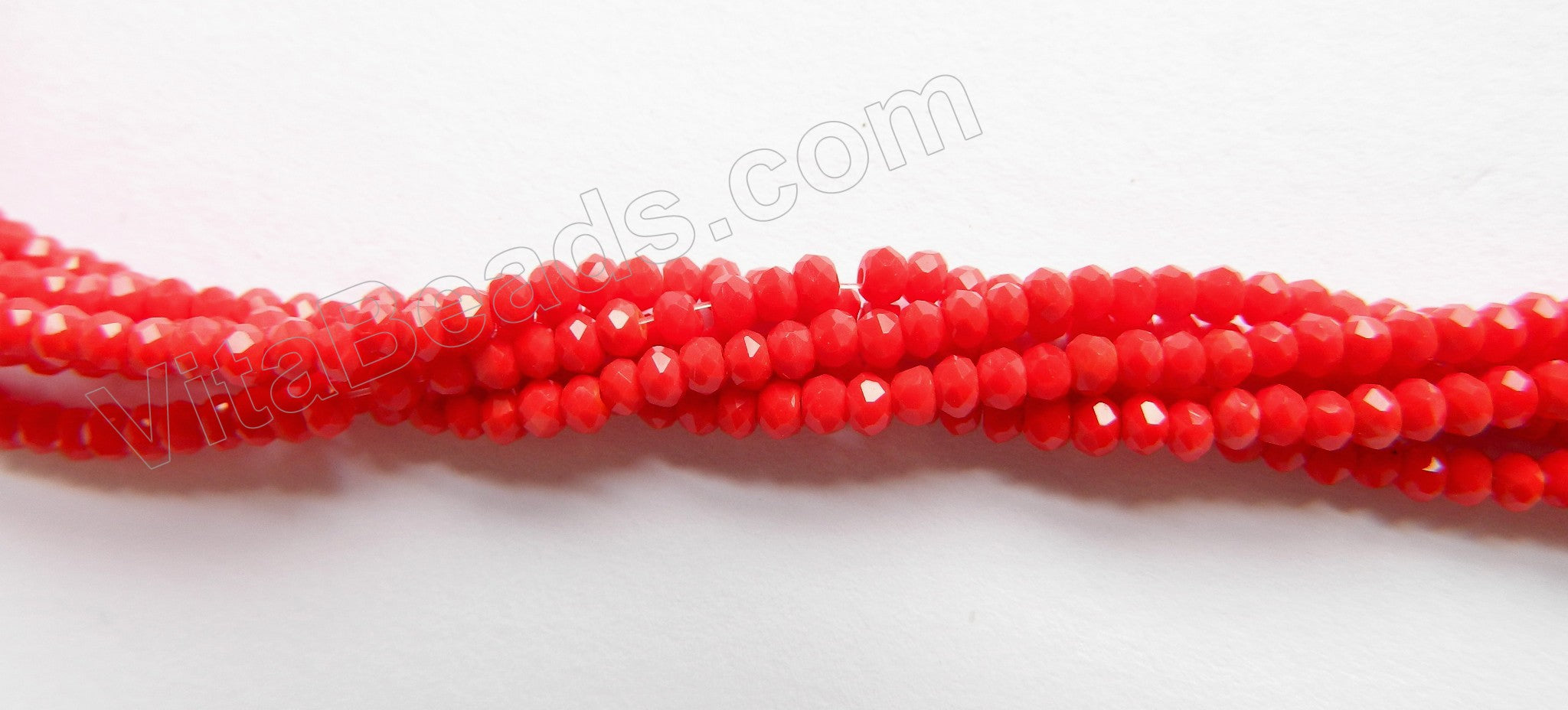 "Synthetic Red Coral Quartz  -  Small Faceted Rondel  15""     3 x 1.5 mm"