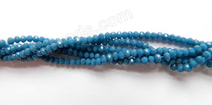 "Synthetic Dark Blue Quartz  -  Small Faceted Rondel  15""     3 x 1.5 mm"