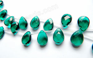 Dark Emerald Crystal Quartz - 13x18mm Faceted Flat Briolette 16""