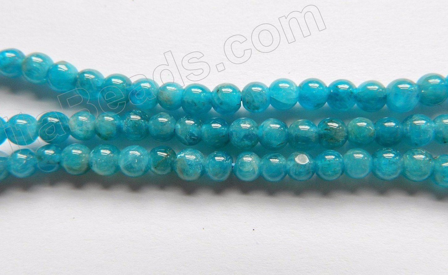 "Bright Apatite AAA  -  Small Smooth Round Beads  16""     3.5mm"
