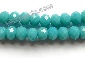 Blue Turquoise Quartz  -  Faceted Rondel  16""