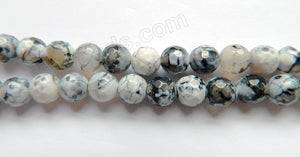 Natural Mixed White Fire Agate  -  Faceted Round  15""