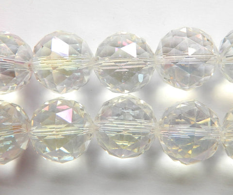 Mystic AB Clear Crystal  -  Star Cut Faceted Round 9""