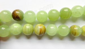 Australia Bright Hemimorphite Jade  -  Big Smooth Round Beads  16""