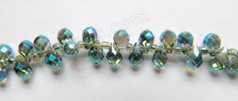 Mystic London Blue Peacock Crystal  -  Small Faceted Teardrop  9""