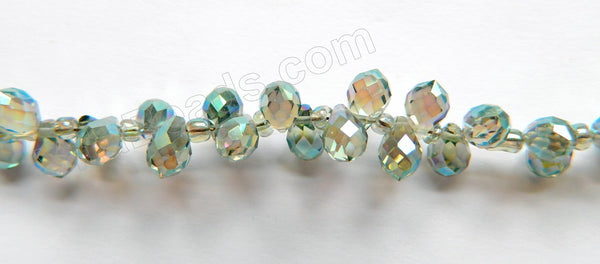 Mystic Light Green Peacock Crystal  -  5x7mm Small Faceted Teardrop  9""