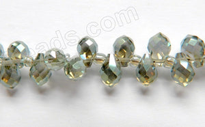 Mystic Green Grey Crystal  -  5x7mm Small Faceted Teardrop  9""