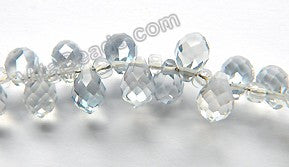 Grey Crystal  -  5x7mm Small Faceted Teardrop  9""