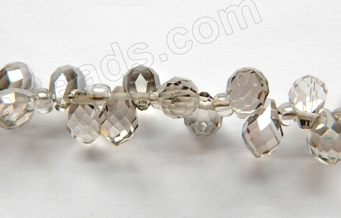 Smoky Crystal  -  5x7mm Small Faceted Teardrop  9""