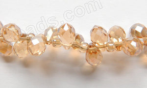 Champ. Crystal  -  5x7mm Small Faceted Teardrop  9""