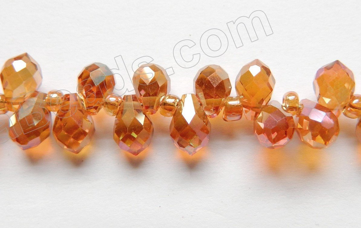 Mystic Dark Amber Crystal  -  5x7mm Small Faceted Teardrop  9""