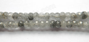 Grey Quartz A  -  Faceted Rondel  15""