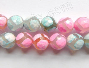 DZi Agate Light Fuchsia Green w/ Football Line - Faceted Round  15""