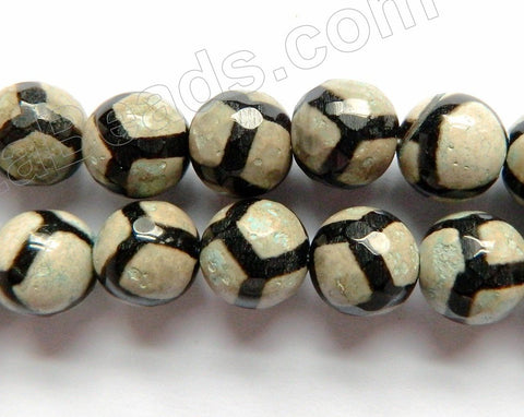 DZi Agate Pale Green w/ Blk Football Line - Faceted Round  15""