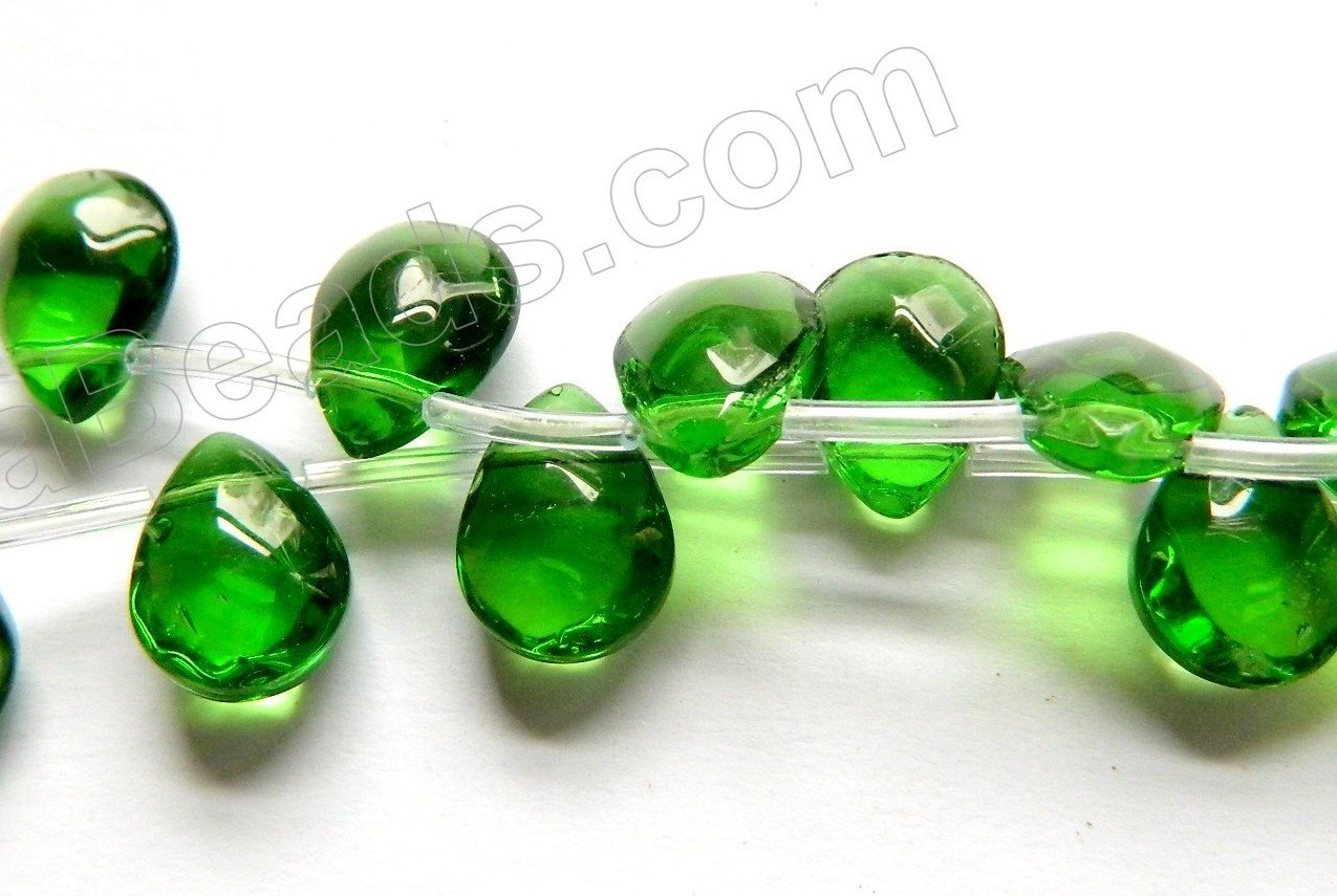 Dark Green Crystal  -  9x12mm Faceted Flat Briolette  10""