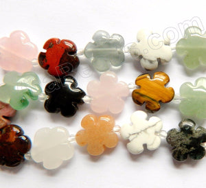 Mixed Stone  -  Carved 5 Petal Flower Strand  16""