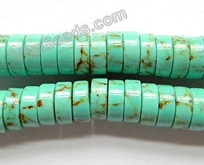 Cracked Green Turquoise  -  Heishi  16""