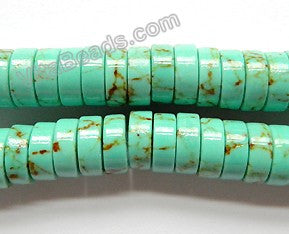 "Cracked Green Turquoise  -  Heishi  16""    10x4mm"