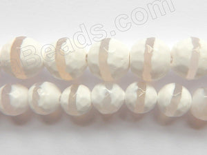 DZi Agate White w/ Line - Faceted Round  15""