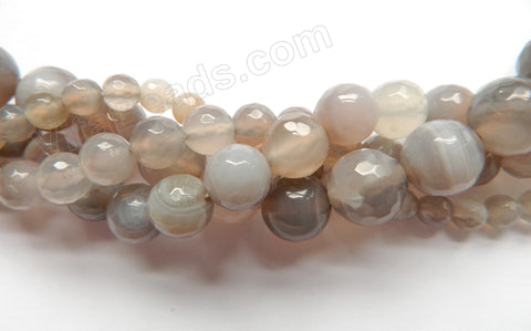 Light Lavender Grey Sardonix Agate  -  Faceted Round   15""