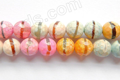 Mixed DZi Agate 4 Color w/ Line - Faceted Round  15""