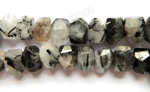 "Dark Black Rutilated Quartz Natural - Center Drilled Cut Tumble  15""    13 x 18 x 12 mm"