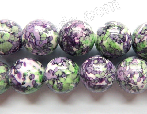 Purple Green Lilac Magnesite  -  Big Smooth Round Beads   15""