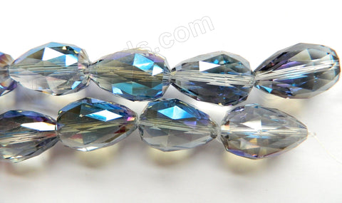 Mystic Blue Grey Crystal Quartz   -  18x26mm Drilled Through Faceted Drop 8""