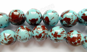 Porcelain - Aqua Brown  - 27mm Big Smooth Round Beads  16""