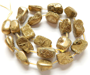 Light Yellow Gold Druzy Crystal  -  Free Form Cubes  16""
